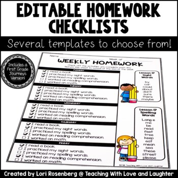 Editable Weekly Homework Checklists {Compatible With First Grade Journeys}