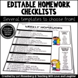 Editable Weekly Homework Checklists {Compatible With First