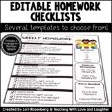 Editable Weekly Homework Checklists {Compatible With Kindergarten Journeys}