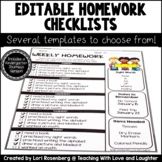 Editable Weekly Homework Checklists {Compatible With Kinde