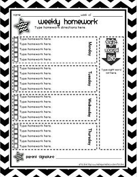 Editable Weekly Homework Log, Space for Sight Words or Spelling Words