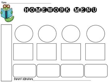 Editable Weekly Homework Menus