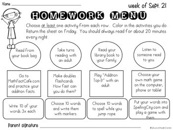 Editable Weekly Homework Menus