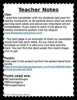 Editable Weekly Homework Newsletter