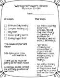 Editable Weekly Homework Packet Cover Sheet