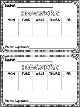Editable Weekly Homework Template by Laugh Eat Learn | TpT