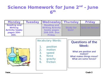 Editable Weekly Homework Sheet