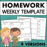 Weekly Homework Template EDITABLE