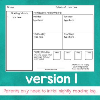 Weekly Homework Template EDITABLE by Fishyrobb | TpT