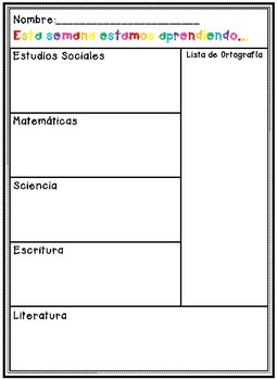 Bilingual Weekly Homework Sheet