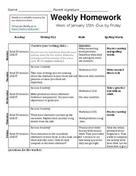 Editable Weekly Homework Sheet & Worksheets | Teachers Pay ...