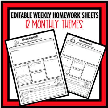 Editable Weekly Homework Sheets!