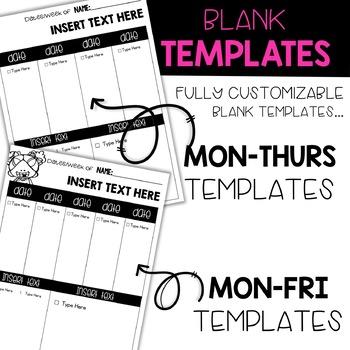 Editable Weekly Homework Sheets