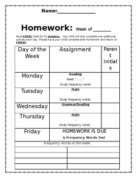 Editable Weekly Homework Template