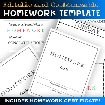Editable Weekly Homework Template + Student Certificate Printable! Customizable!