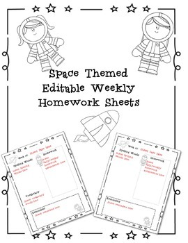Editable Weekly Homework Template Space Theme