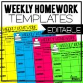 Editable Weekly Homework Templates