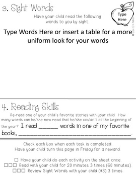 Editable Weekly Kindergarten Homework {72 pages of ELA activities}