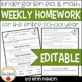 Editable Weekly Kindergarten Homework {72 pages of Reading and Math activities}