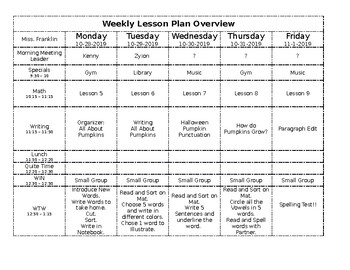 Editable** Weekly Lesson Plan Overview