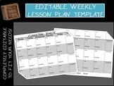Editable Weekly Lesson Plan Template