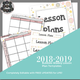 Editable Weekly Lesson Plan Template | Bubbles