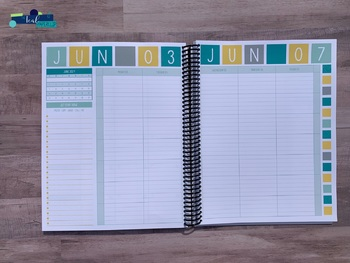 Editable Weekly Lesson Planner Teacher Planner 17-18: Grey, Yellow, Aqua