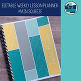 Editable Weekly Lesson Planner Teacher Planner 18-19: Grey, Yellow, Aqua