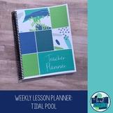 Editable Weekly Lesson Planner Teacher Planner 18-19: Navy, Lime, Aqua