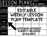 Editable Weekly Lesson Planner Template