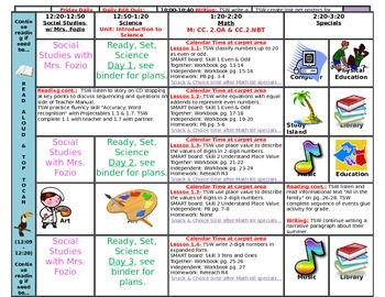 Editable Weekly Lesson Plans Format