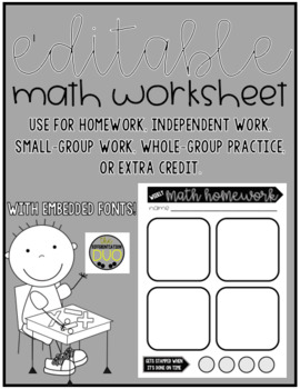 Editable Weekly Math Homework Template