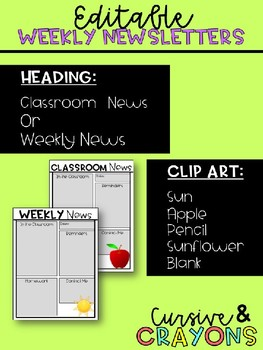 Editable Weekly & Monthly Newsletters