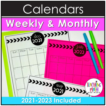 Weekly & Monthly Editable School Calendars and Planners