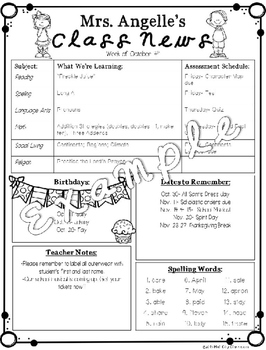 Editable Weekly Class Newsletter