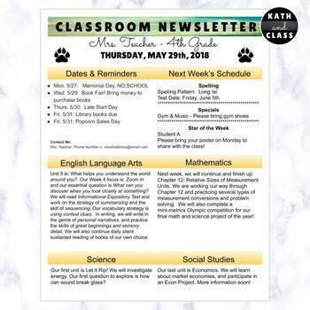 Editable Weekly Newsletter: Google Slides 1 or 2 page simple, modern newsletter