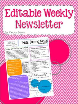 Editable weekly newsletter template by miss burns for Free editable newsletter templates for teachers