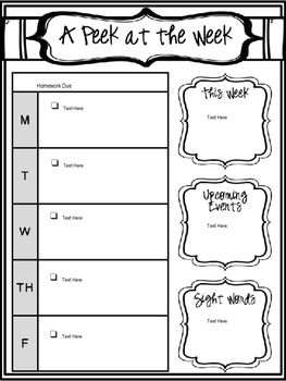 Editable Weekly Newsletter and Homework Checklist