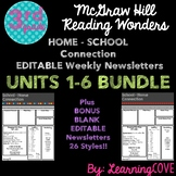 Editable Weekly Newsletters McGraw Hill Wonders - Grade 3 BUNDLE Units 1-6