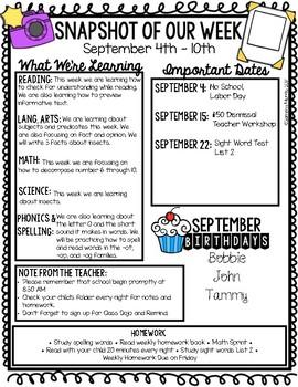 Editable Weekly Newsletters (Snapshot Of Our Week)