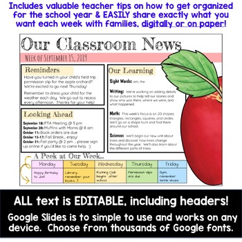 Editable Weekly Newsletters for Google Slides . Share digitally or on paper!