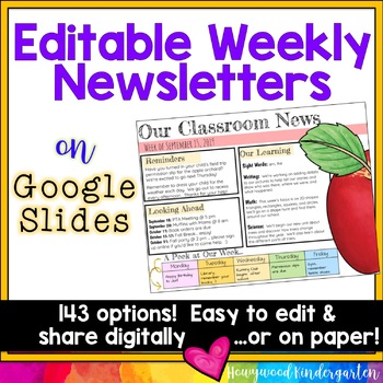 Newsletter Templates EDITABLE For Google Slides Share Digitally Or On Paper