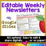 Newsletter Templates EDITABLE for Google Slides . Share digitally or on paper!