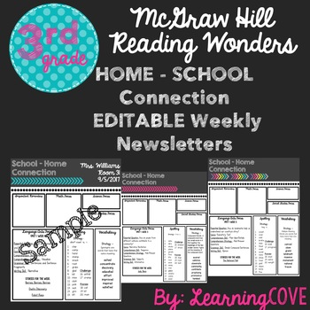 Editable Weekly Newsletters for McGraw Hill Wonders - Grade 3 Unit 1