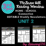 Editable Weekly Newsletters for McGraw Hill Wonders - Grade 3 Unit 2