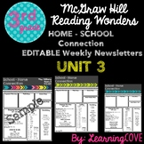 Editable Weekly Newsletters for McGraw Hill Wonders - Grade 3 Unit 3
