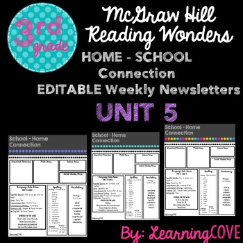 Editable Weekly Newsletters for McGraw Hill Wonders - Grade 3 Unit 5
