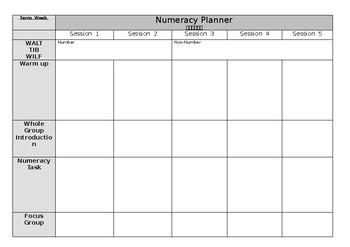 Editable Weekly Numeracy Planner