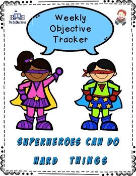 Editable Weekly Objective Tracker-Superhero Theme