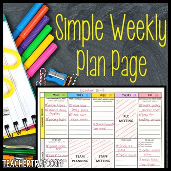 Editable Weekly Plan Page